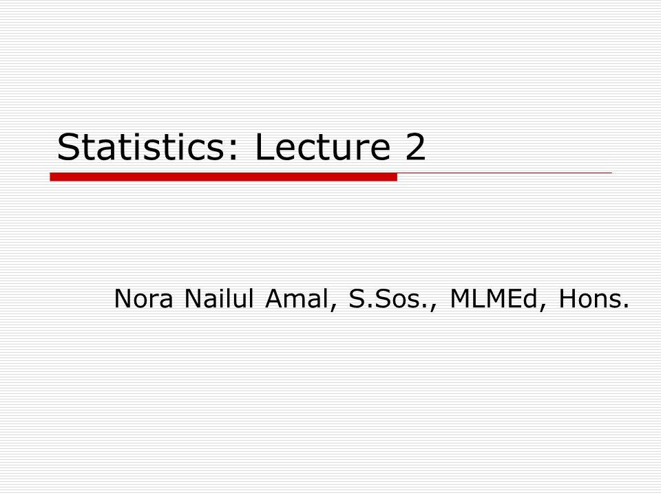 Statistics: Lecture 2 Nora Nailul Amal, S.Sos., MLMEd, Hons.
