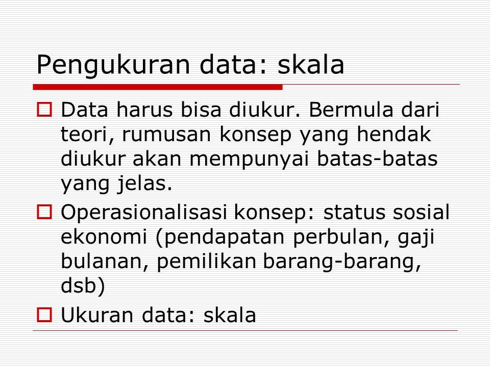 Pengukuran data: skala  Data harus bisa diukur.
