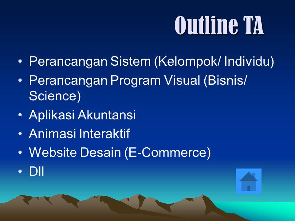 Perancangan Sistem (Kelompok/ Individu) Perancangan Program Visual (Bisnis/ Science) Aplikasi Akuntansi Animasi Interaktif Website Desain (E-Commerce)