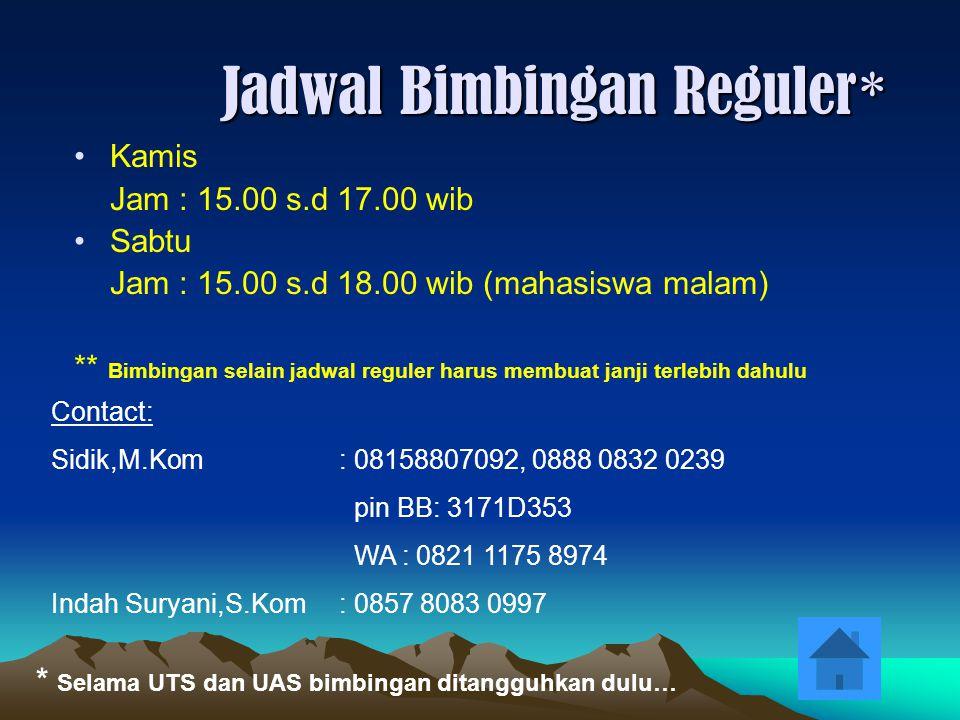 Kamis Jam : 15.00 s.d 17.00 wib Sabtu Jam : 15.00 s.d 18.00 wib (mahasiswa malam) ** Bimbingan selain jadwal reguler harus membuat janji terlebih dahu