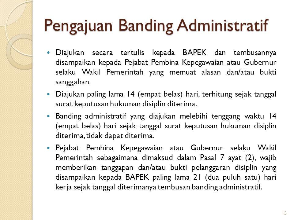 3.Dapat diajukan upaya banding administratif kepada Badan Pertimbangan Kepegawaian untuk jenis hukuman disiplin berat berupa  pemberhentian dengan ho