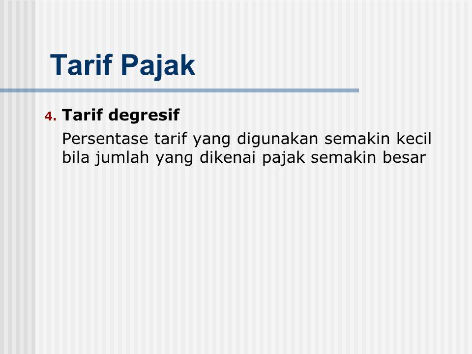 3. Tarif progresif Persentase tarif yang digunakan semakin besar bila jumlah yang dikenai pajak semakin besar Menurut kenaikan persentase tarifnya, ta