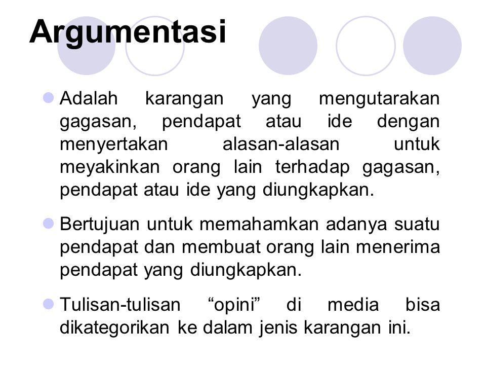 Argumentasi Adalah karangan yang mengutarakan gagasan, pendapat atau ide dengan menyertakan alasan-alasan untuk meyakinkan orang lain terhadap gagasan, pendapat atau ide yang diungkapkan.