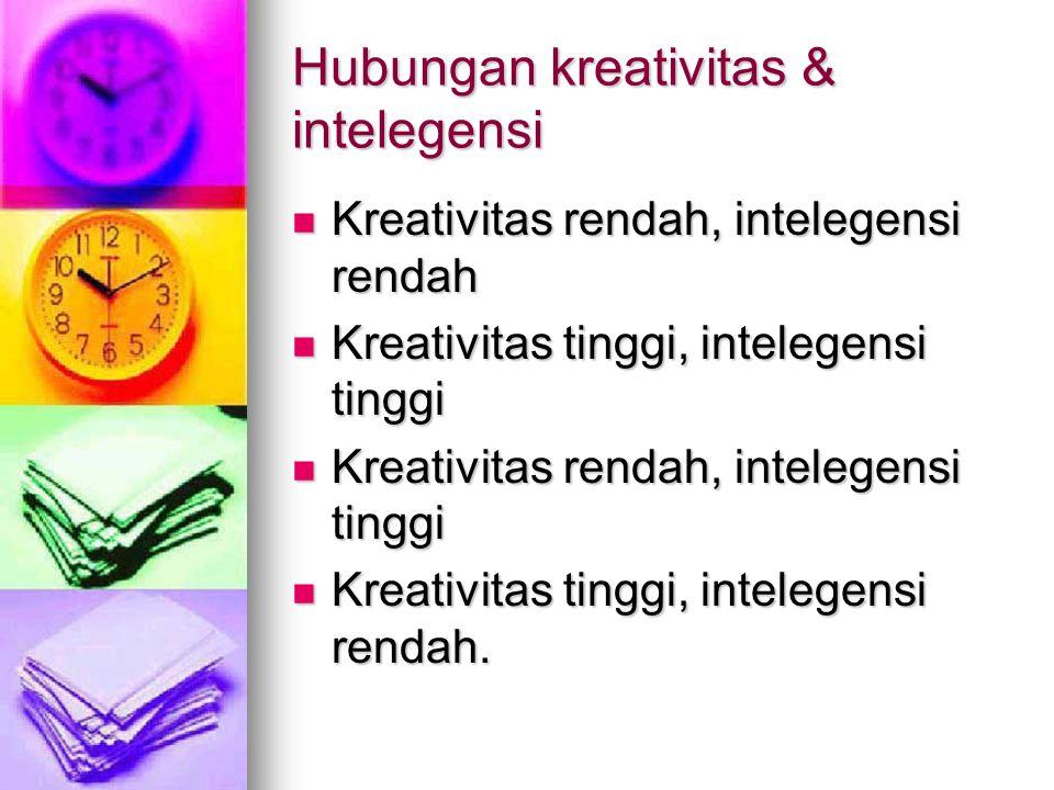 Hubungan kreativitas & intelegensi Kreativitas rendah, intelegensi rendah Kreativitas rendah, intelegensi rendah Kreativitas tinggi, intelegensi tingg