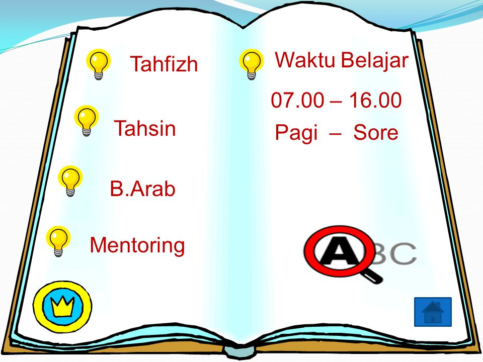 Tahfizh Tahsin B.Arab Mentoring 07.00 – 16.00 Pagi – Sore Waktu Belajar
