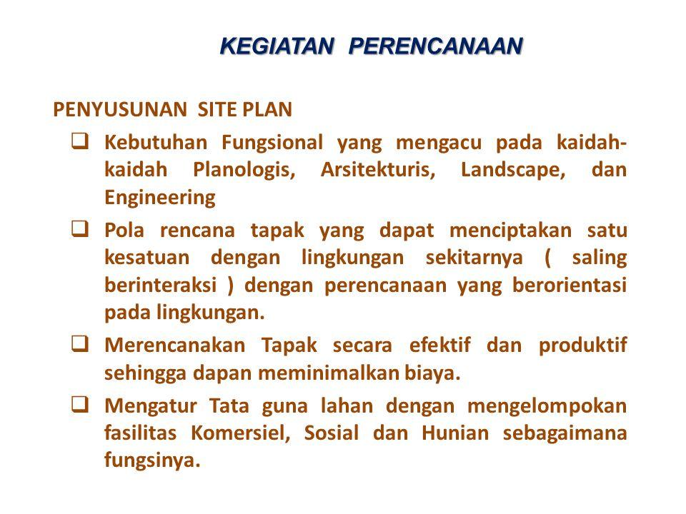 PENYUSUNAN SITE PLAN  Kebutuhan Fungsional yang mengacu pada kaidah- kaidah Planologis, Arsitekturis, Landscape, dan Engineering  Pola rencana tapak