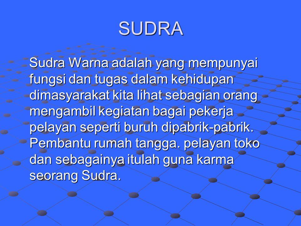 SUDRA Sudra Warna adalah yang mempunyai fungsi dan tugas dalam kehidupan dimasyarakat kita lihat sebagian orang mengambil kegiatan bagai pekerja pelay
