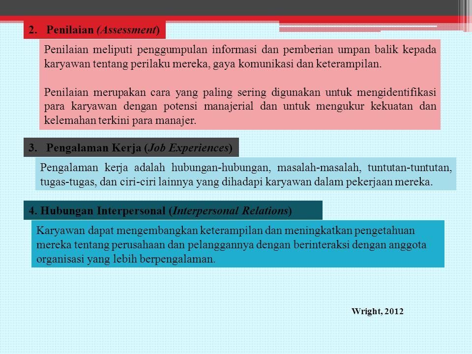 2.Penilaian (Assessment) Penilaian meliputi penggumpulan informasi dan pemberian umpan balik kepada karyawan tentang perilaku mereka, gaya komunikasi