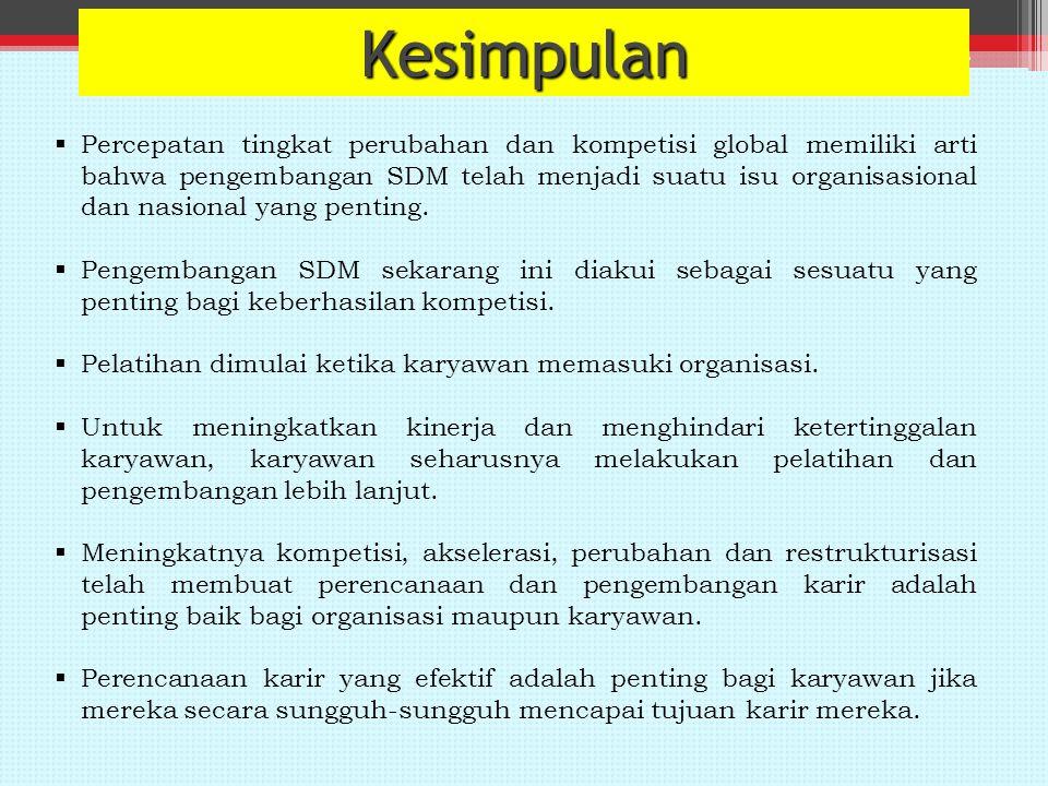 Kesimpulan  Percepatan tingkat perubahan dan kompetisi global memiliki arti bahwa pengembangan SDM telah menjadi suatu isu organisasional dan nasional yang penting.