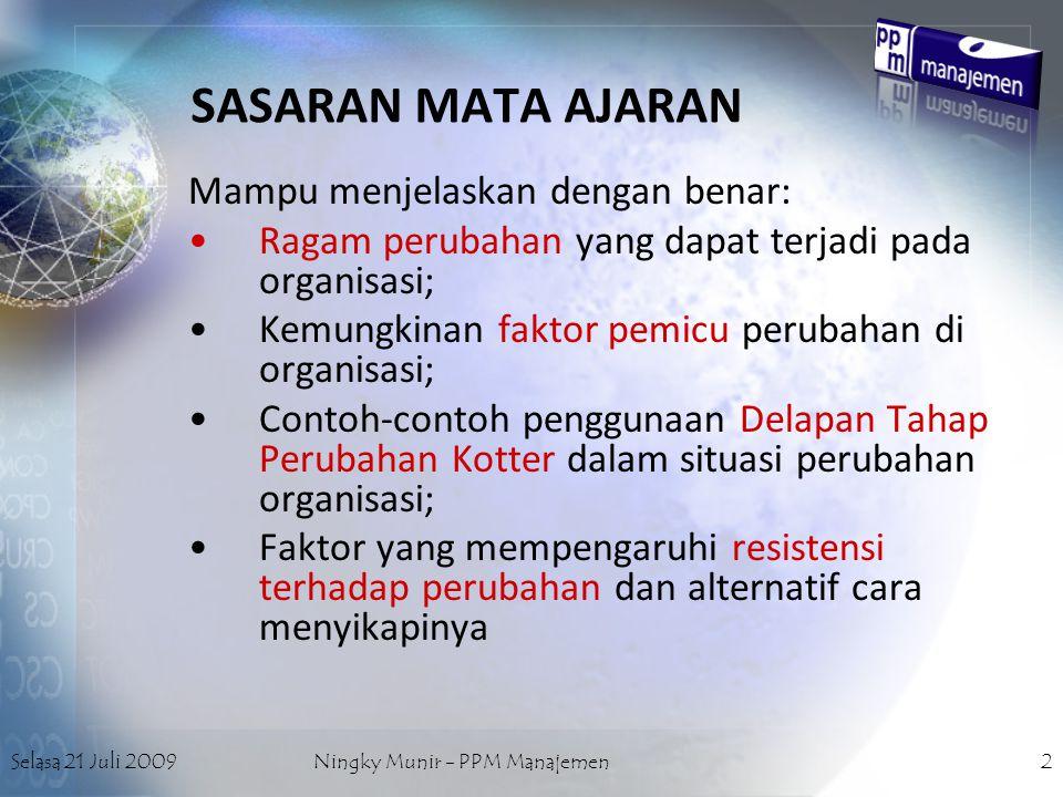 Selasa 21 Juli 2009Ningky Munir - PPM Manajemen2 SASARAN MATA AJARAN Mampu menjelaskan dengan benar: Ragam perubahan yang dapat terjadi pada organisas