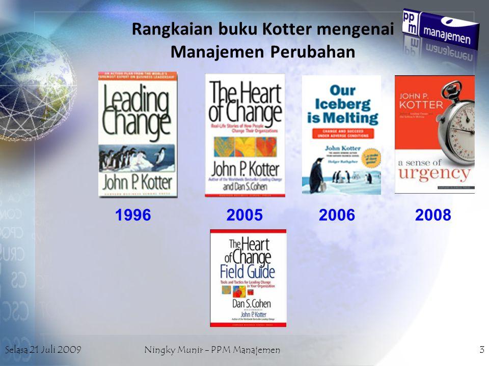 Selasa 21 Juli 2009Ningky Munir - PPM Manajemen14 FAKTOR PEMICU PERUBAHAN dari INTERNAL –Perubahan Visi pimpinan/pemilik –Strategi jangka panjang –Konflik internal yang berkepanjangan –Perusahaan 'menua' (begitu-begitu saja)