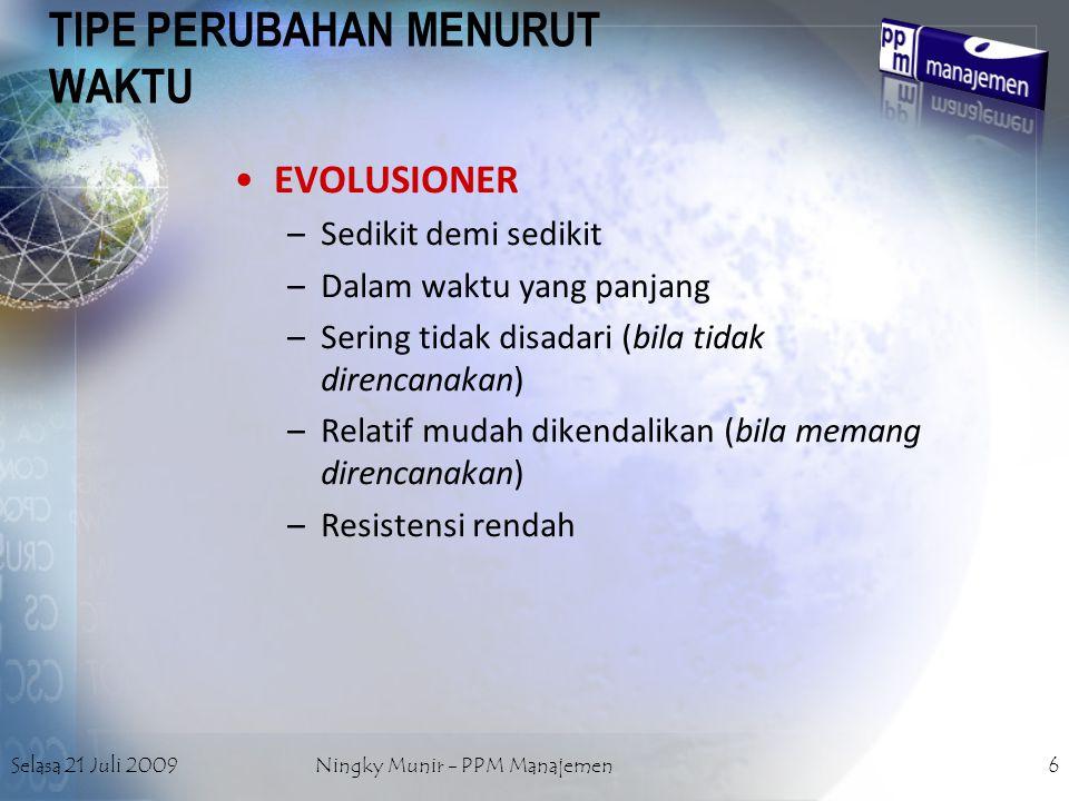 Selasa 21 Juli 2009Ningky Munir - PPM Manajemen6 TIPE PERUBAHAN MENURUT WAKTU EVOLUSIONER –Sedikit demi sedikit –Dalam waktu yang panjang –Sering tida