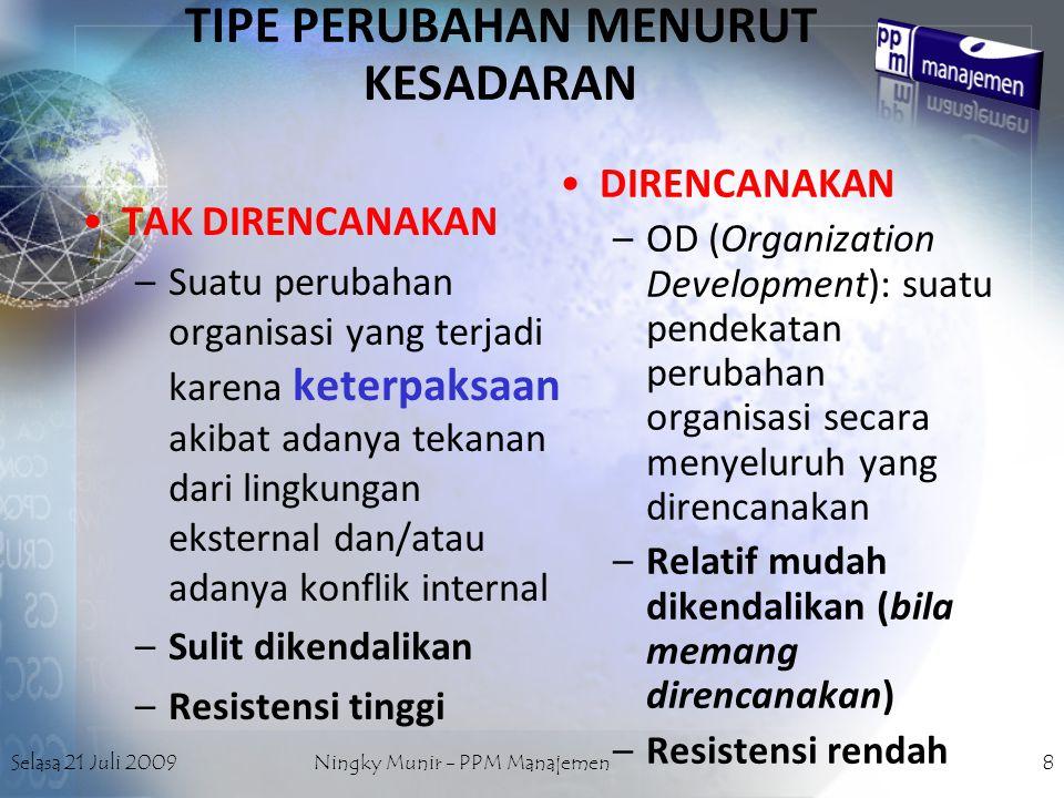 Selasa 21 Juli 2009Ningky Munir - PPM Manajemen8 TIPE PERUBAHAN MENURUT KESADARAN DIRENCANAKAN –O–OD (Organization Development): suatu pendekatan peru
