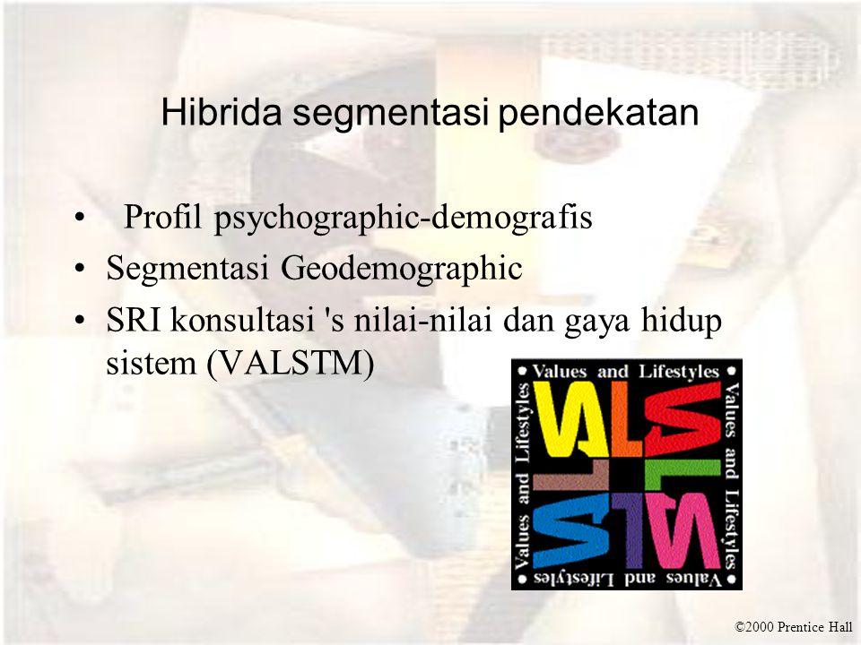 ©2000 Prentice Hall Hibrida segmentasi pendekatan Profil psychographic-demografis Segmentasi Geodemographic SRI konsultasi s nilai-nilai dan gaya hidup sistem (VALSTM)
