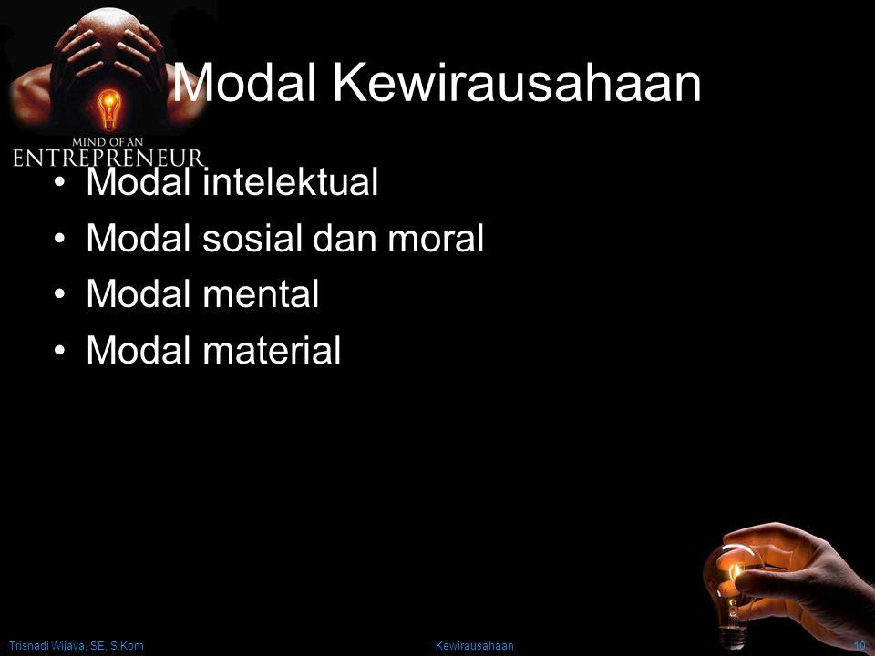 Trisnadi Wijaya, SE, S.Kom Kewirausahaan10 Modal Kewirausahaan Modal intelektual Modal sosial dan moral Modal mental Modal material