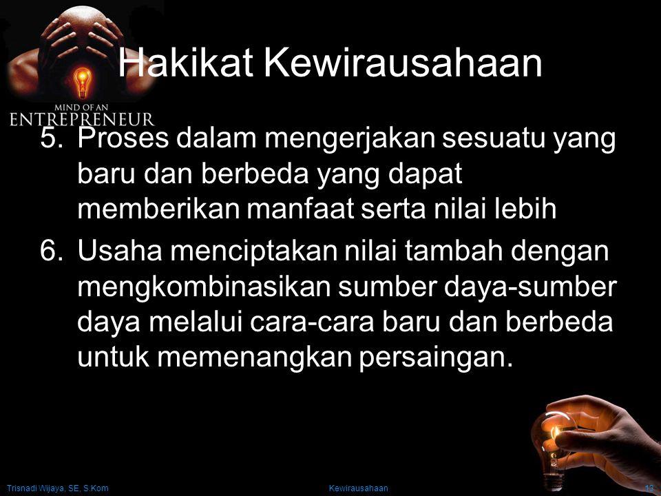 Trisnadi Wijaya, SE, S.Kom Kewirausahaan13 Hakikat Kewirausahaan 5.Proses dalam mengerjakan sesuatu yang baru dan berbeda yang dapat memberikan manfaa