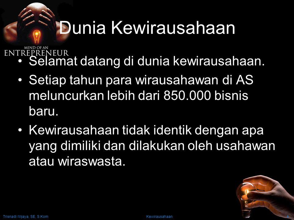 Trisnadi Wijaya, SE, S.Kom Kewirausahaan4 Dunia Kewirausahaan Selamat datang di dunia kewirausahaan. Setiap tahun para wirausahawan di AS meluncurkan