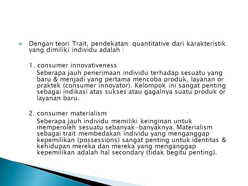  Dengan teori Trait, pendekatan quantitative dari karakteristik yang dimiliki individu adalah : 1. consumer innovativeness Seberapa jauh penerimaan i