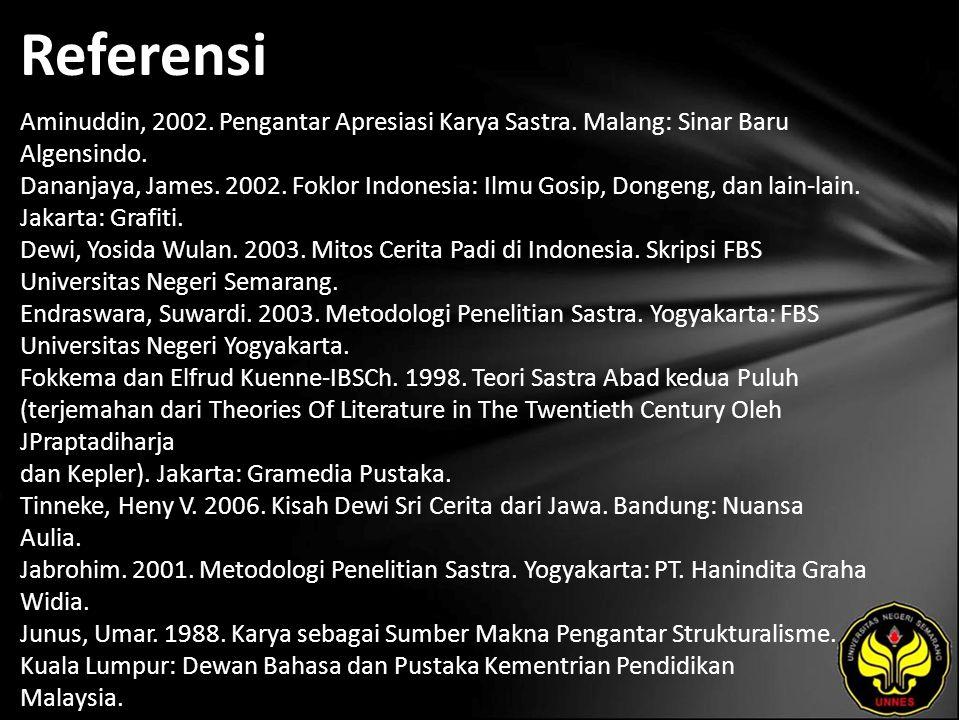 Referensi Aminuddin, 2002. Pengantar Apresiasi Karya Sastra.