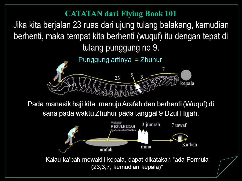 Kalau ka'bah mewakili kepala, dapat dikatakan ada Formula (23,3,7, kemudian kepala) Jika kita berjalan 23 ruas dari ujung tulang belakang, kemudian berhenti, maka tempat kita berhenti (wuquf) itu dengan tepat di tulang punggung no 9.