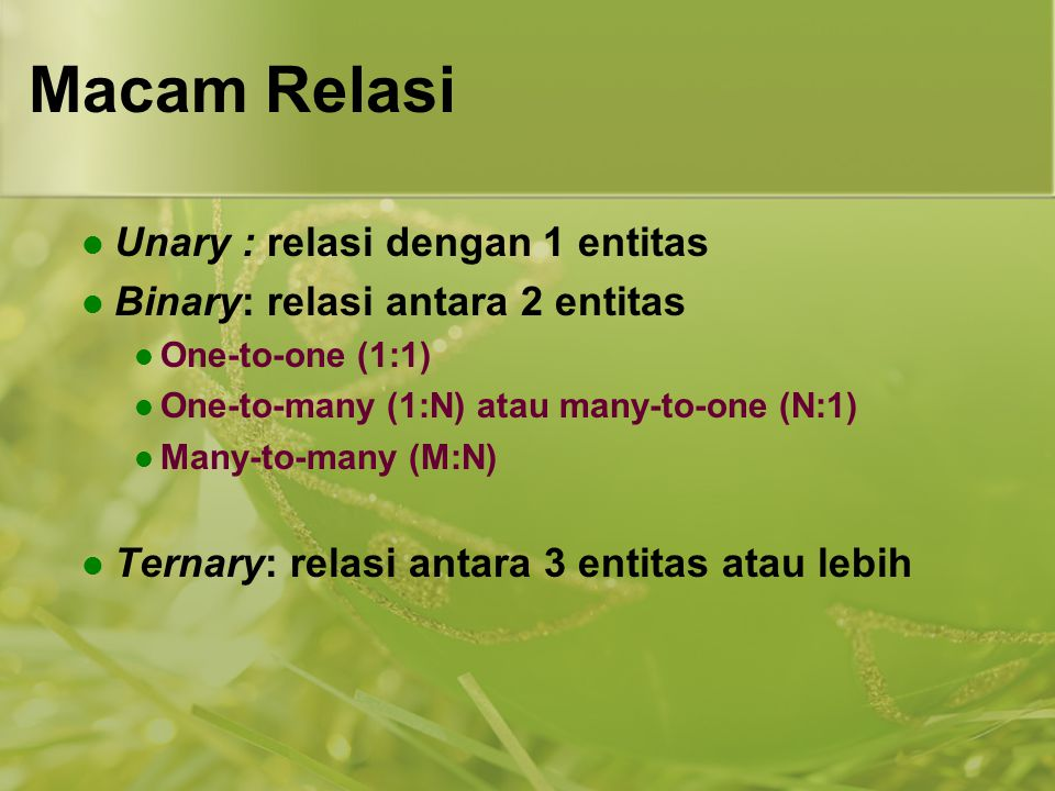 Macam Relasi Unary : relasi dengan 1 entitas Binary: relasi antara 2 entitas One-to-one (1:1) One-to-many (1:N) atau many-to-one (N:1) Many-to-many (M