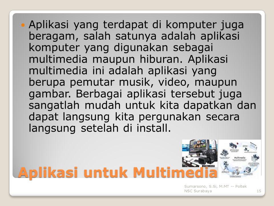 Aplikasi untuk Multimedia Aplikasi yang terdapat di komputer juga beragam, salah satunya adalah aplikasi komputer yang digunakan sebagai multimedia maupun hiburan.