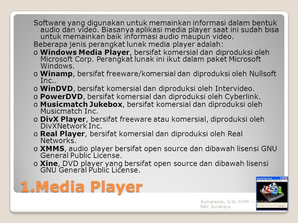 1.Media Player Software yang digunakan untuk memainkan informasi dalam bentuk audio dan video.