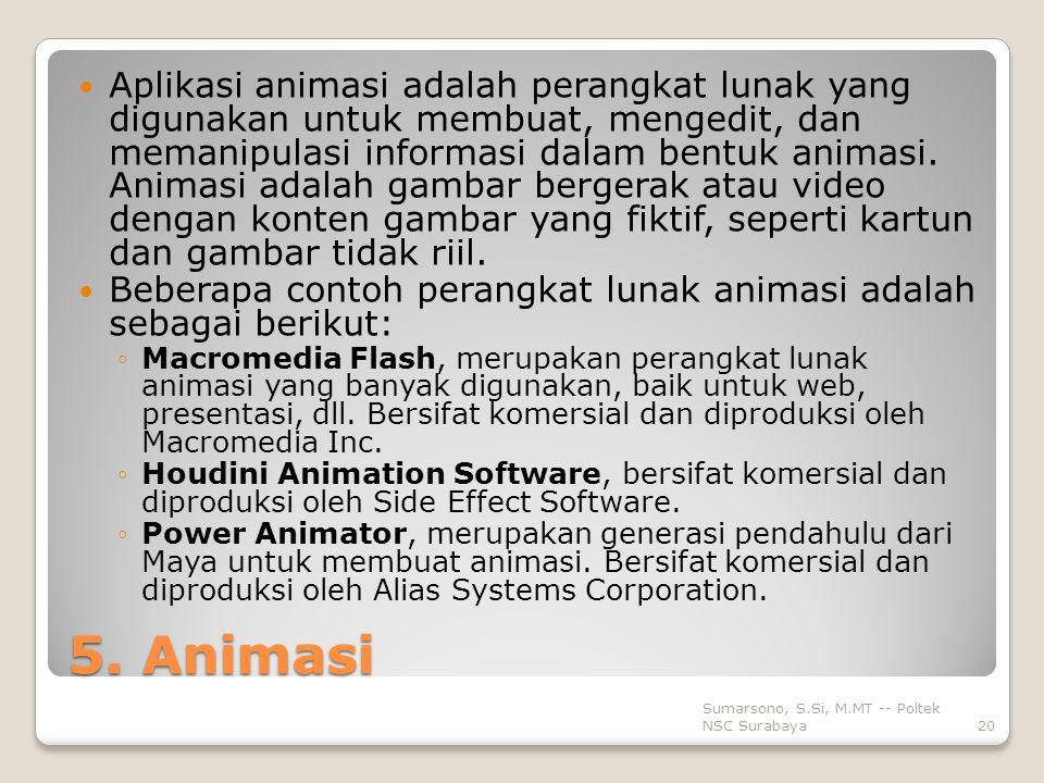 5. Animasi Aplikasi animasi adalah perangkat lunak yang digunakan untuk membuat, mengedit, dan memanipulasi informasi dalam bentuk animasi. Animasi ad