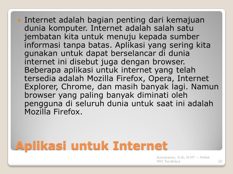 Aplikasi untuk Internet Internet adalah bagian penting dari kemajuan dunia komputer.