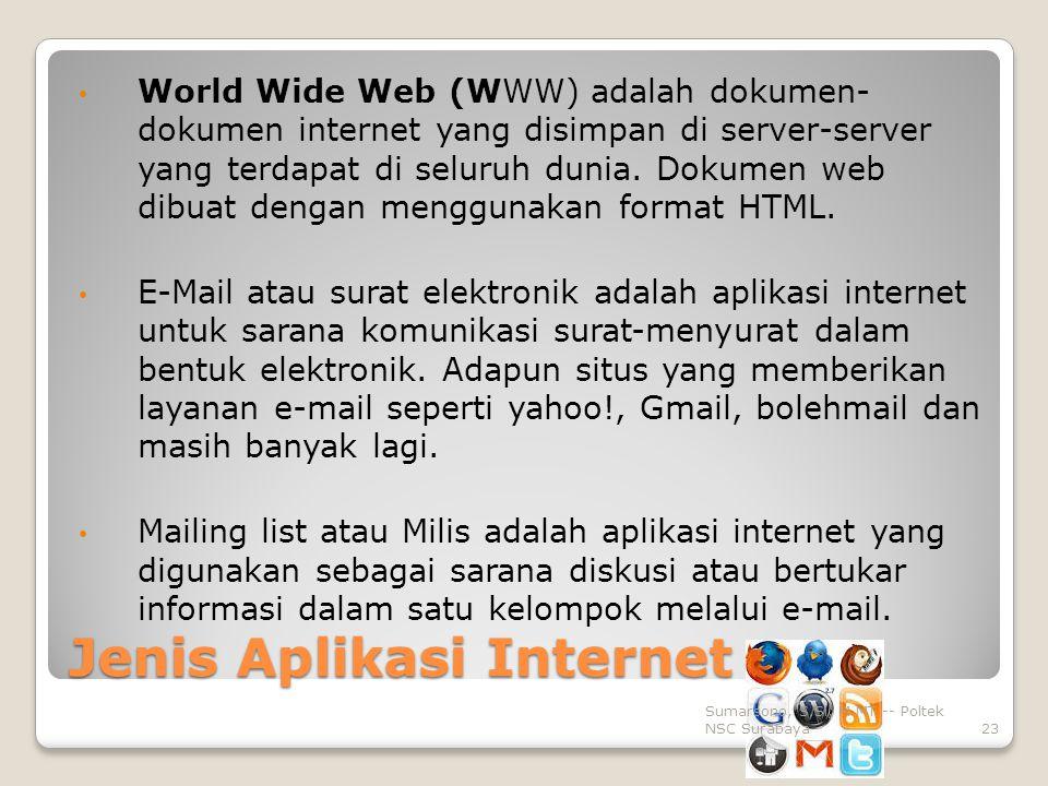 Jenis Aplikasi Internet World Wide Web (WWW) adalah dokumen- dokumen internet yang disimpan di server-server yang terdapat di seluruh dunia.
