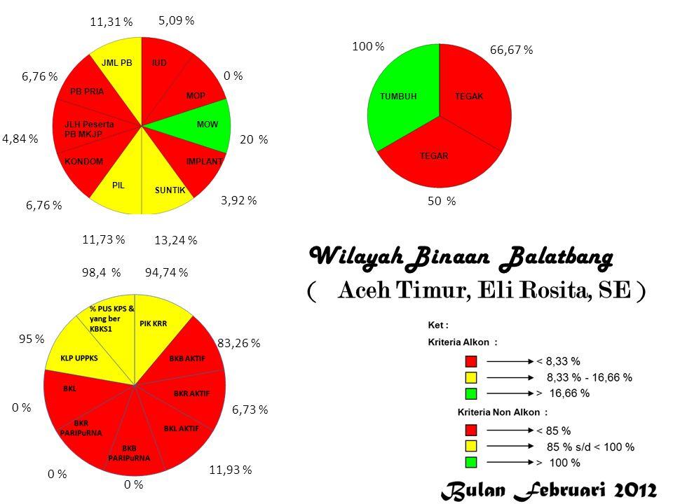 5,09 % 0 % 20 % 3,92 % 13,24 % 11,73 % 6,76 % 4,84 % 6,76 % 11,31 % 94,74 % 83,26 % 6,73 % 11,93 % 0 % 95 % 98,4 % 100 % 66,67 % 50 % Aceh Timur Wilayah Binaan Balatbang ( Aceh Timur, Eli Rosita, SE )