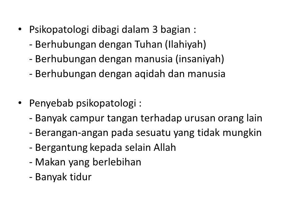 Definisi kesehatan mental Musthafa Fahmi : - Pola negatif (salaby) - Pola positif (ijaby) Bastaman : - Pola simptomatis - Pola penyesuaian diri - Pola pengembangan diri - Pola agama