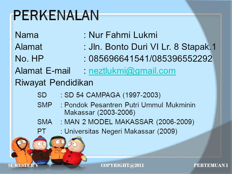 Nama: Nur Fahmi Lukmi Alamat: Jln. Bonto Duri VI Lr. 8 Stapak.1 No. HP: 085696641541/085396552292 Alamat E-mail: neztlukmi@gmail.comneztlukmi@gmail.co