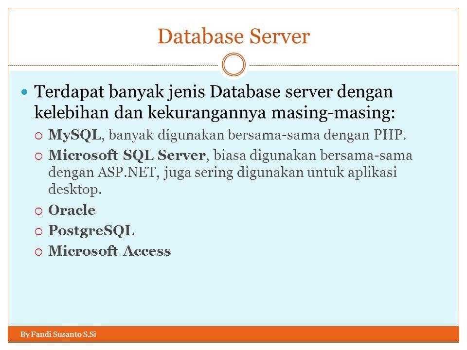 Database Server By Fandi Susanto S.Si Terdapat banyak jenis Database server dengan kelebihan dan kekurangannya masing-masing:  MySQL, banyak digunakan bersama-sama dengan PHP.