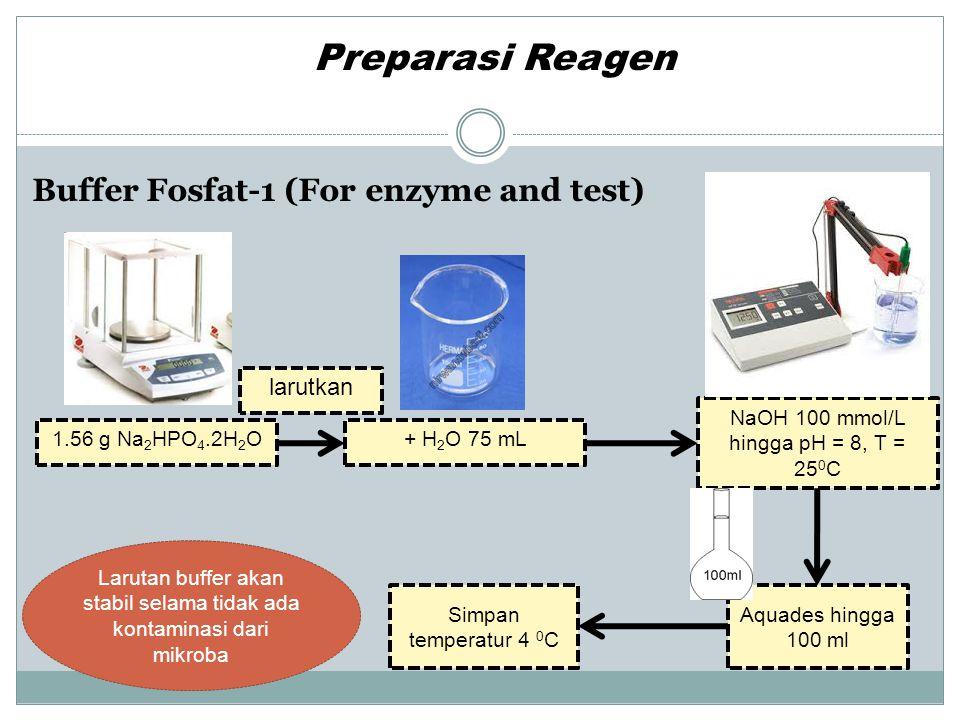 Buffer Fosfat -2 (For Ellman's reagent, DTNB) Preparasi Reagen Larutan buffer akan stabil selama tidak ada kontaminasi dari mikroba 1.56 g Na 2 HPO 4.2H 2 O NaOH 100 mmol/L hingga pH = 7, T = 25 0 C Aquades hingga 100 ml + H 2 O 75 mL larutkan Simpan temperatur 4 0 C