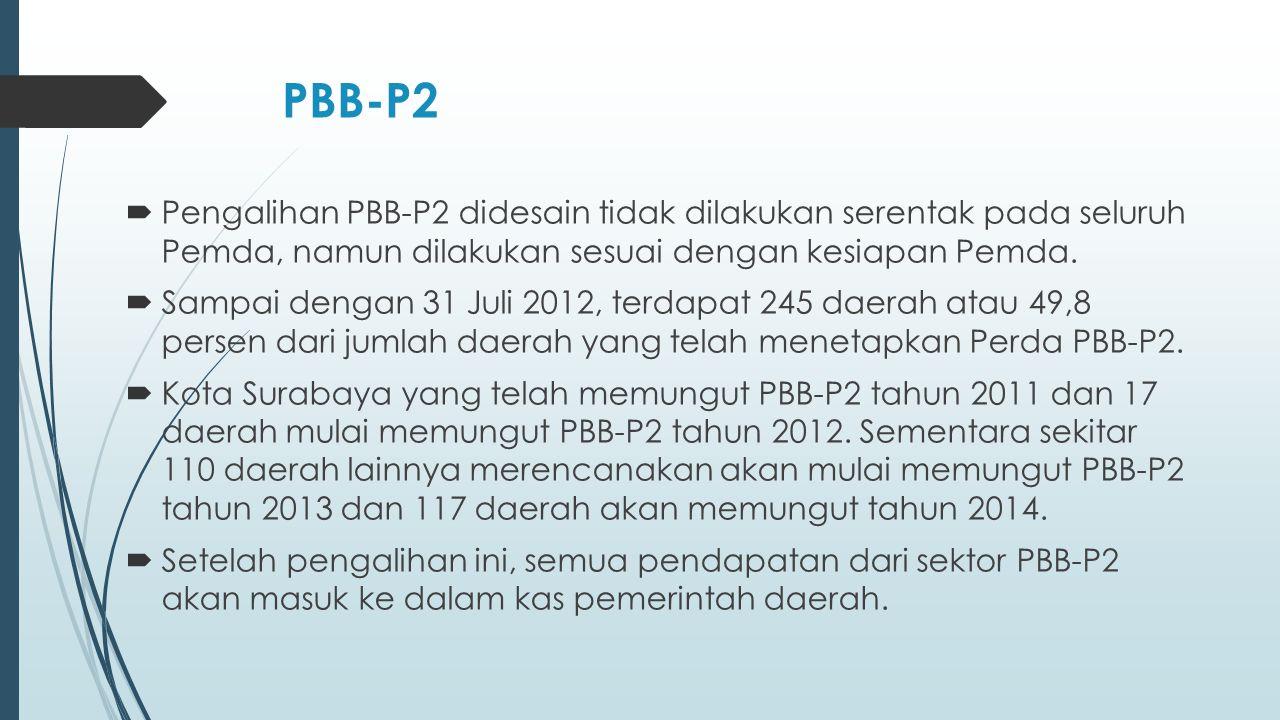 PBB-P2  Pengalihan PBB-P2 didesain tidak dilakukan serentak pada seluruh Pemda, namun dilakukan sesuai dengan kesiapan Pemda.  Sampai dengan 31 Juli