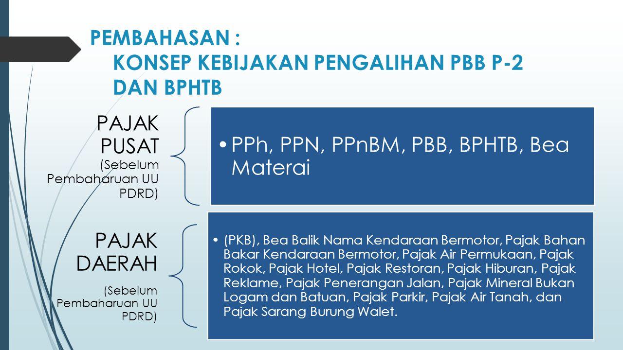 PEMBAHASAN : KONSEP KEBIJAKAN PENGALIHAN PBB P-2 DAN BPHTB PAJAK PUSAT (Sebelum Pembaharuan UU PDRD) PPh, PPN, PPnBM, PBB, BPHTB, Bea Materai PAJAK DAERAH (Sebelum Pembaharuan UU PDRD) (PKB), Bea Balik Nama Kendaraan Bermotor, Pajak Bahan Bakar Kendaraan Bermotor, Pajak Air Permukaan, Pajak Rokok, Pajak Hotel, Pajak Restoran, Pajak Hiburan, Pajak Reklame, Pajak Penerangan Jalan, Pajak Mineral Bukan Logam dan Batuan, Pajak Parkir, Pajak Air Tanah, dan Pajak Sarang Burung Walet.