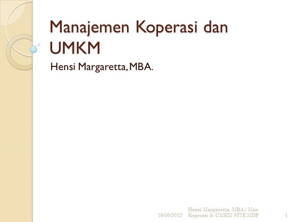 Curriculum Vitae CV 18/09/2012 Hensi Margaretta, MBA./ Man Koperasi & UMKM STIE MDP2