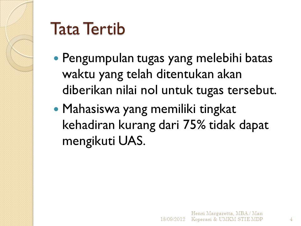 Penilaian Tugas : 20% Kuis: 10% UTS: 30% UAS: 40% 18/09/2012 Hensi Margaretta, MBA./ Man Koperasi & UMKM STIE MDP5