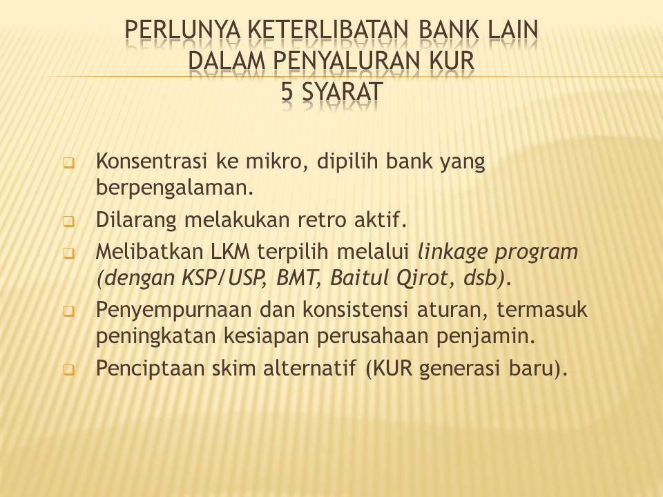  Konsentrasi ke mikro, dipilih bank yang berpengalaman.  Dilarang melakukan retro aktif.  Melibatkan LKM terpilih melalui linkage program (dengan K