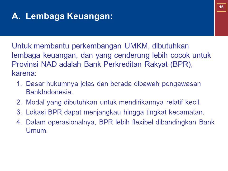 16 Untuk membantu perkembangan UMKM, dibutuhkan lembaga keuangan, dan yang cenderung lebih cocok untuk Provinsi NAD adalah Bank Perkreditan Rakyat (BP