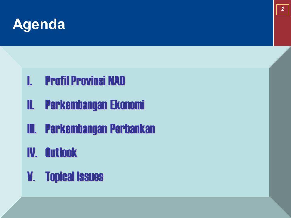 2 Agenda I.Profil Provinsi NAD II.Perkembangan Ekonomi III.Perkembangan Perbankan IV.Outlook V.Topical Issues
