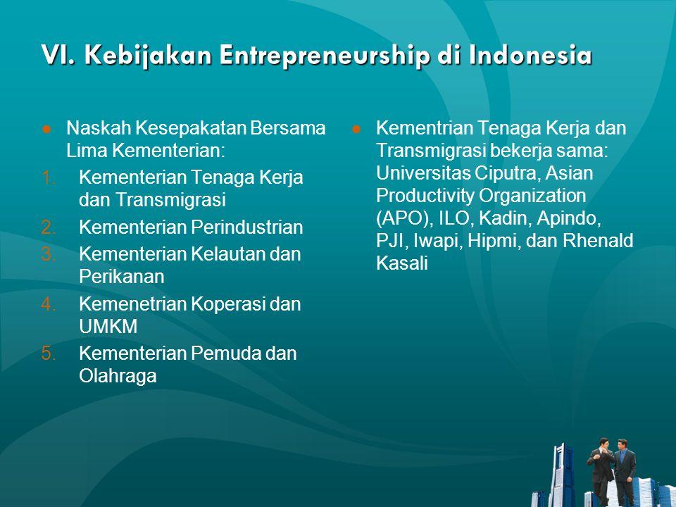 VI. Kebijakan Entrepreneurship di Indonesia ●Naskah Kesepakatan Bersama Lima Kementerian: 1.Kementerian Tenaga Kerja dan Transmigrasi 2.Kementerian Pe