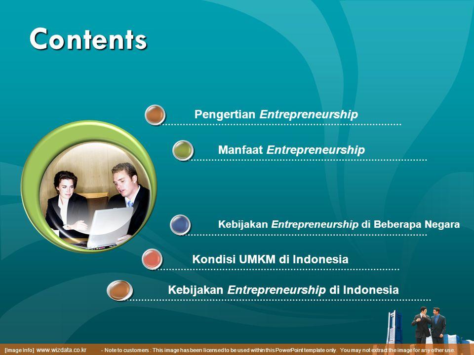 Contents Kondisi UMKM di Indonesia Manfaat Entrepreneurship Kebijakan Entrepreneurship di Beberapa Negara Pengertian Entrepreneurship [Image Info] www
