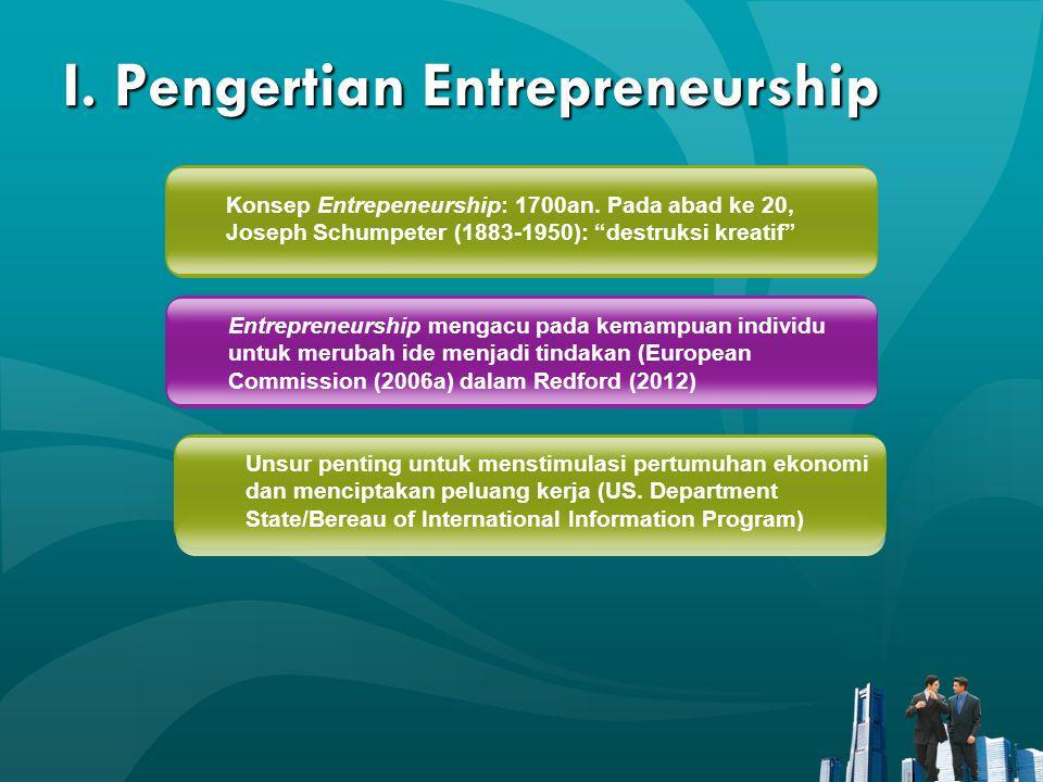 """I. Pengertian Entrepreneurship Konsep Entrepeneurship: 1700an. Pada abad ke 20, Joseph Schumpeter (1883-1950): """"destruksi kreatif"""" Entrepreneurship me"""