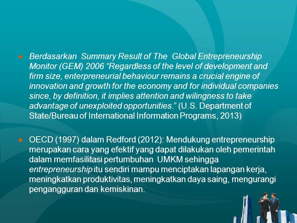 "●Berdasarkan Summary Result of The Global Entrepreneurship Monitor (GEM) 2006 ""Regardless of the level of development and firm size, enterpreneurial b"