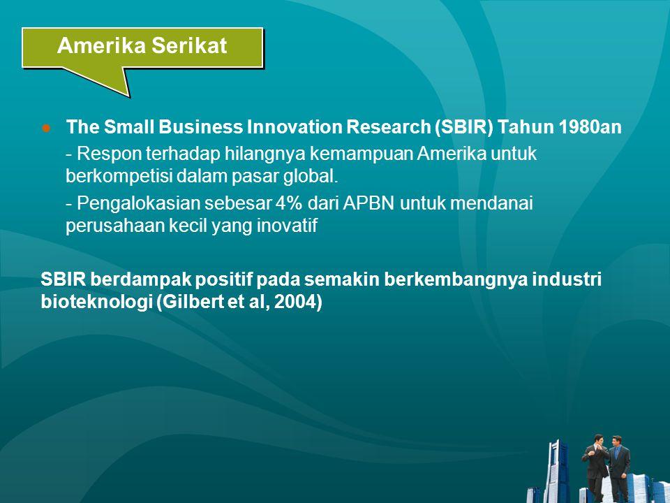 ●The Small Business Innovation Research (SBIR) Tahun 1980an - Respon terhadap hilangnya kemampuan Amerika untuk berkompetisi dalam pasar global. - Pen