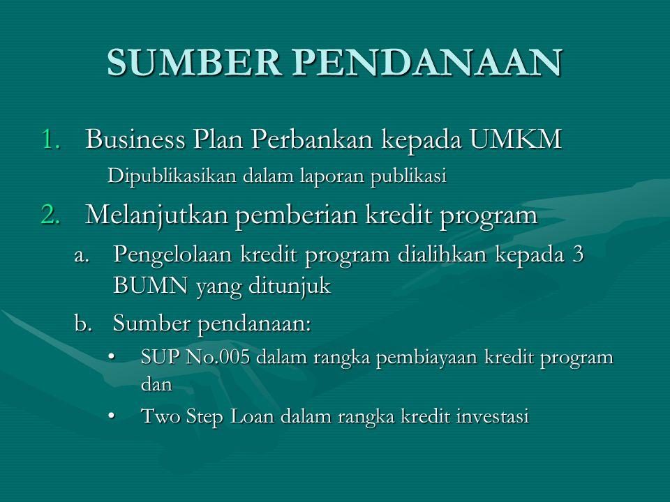 SUMBER PENDANAAN 1.Business Plan Perbankan kepada UMKM Dipublikasikan dalam laporan publikasi 2.Melanjutkan pemberian kredit program a.Pengelolaan kredit program dialihkan kepada 3 BUMN yang ditunjuk b.Sumber pendanaan: SUP No.005 dalam rangka pembiayaan kredit program danSUP No.005 dalam rangka pembiayaan kredit program dan Two Step Loan dalam rangka kredit investasiTwo Step Loan dalam rangka kredit investasi