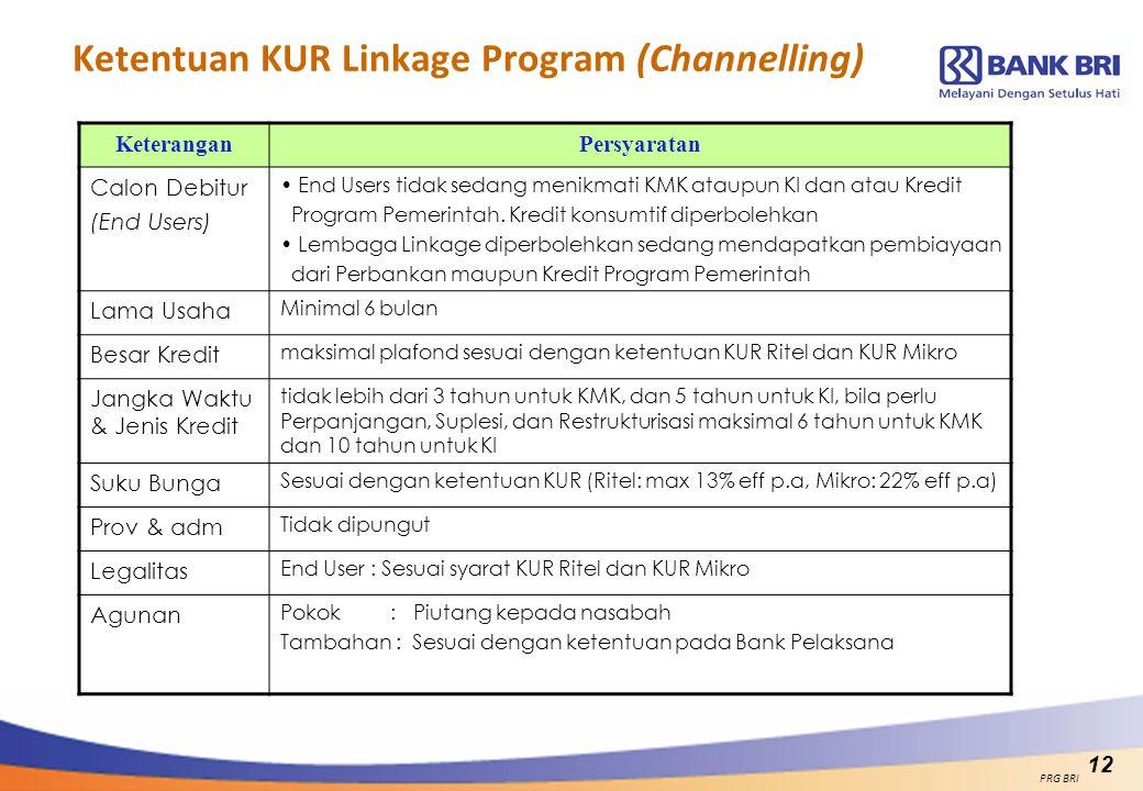 Ketentuan KUR Linkage Program (Channelling) KeteranganPersyaratan Calon Debitur (End Users) End Users tidak sedang menikmati KMK ataupun KI dan atau K