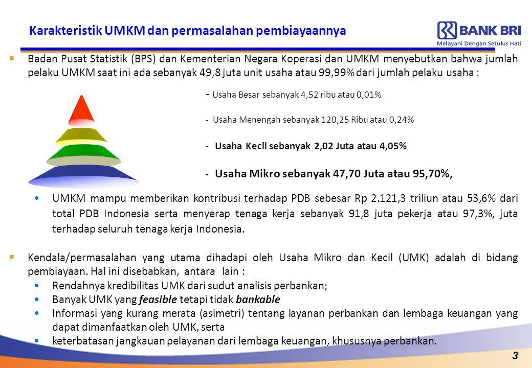 3 Karakteristik UMKM dan permasalahan pembiayaannya  Badan Pusat Statistik (BPS) dan Kementerian Negara Koperasi dan UMKM menyebutkan bahwa jumlah pe